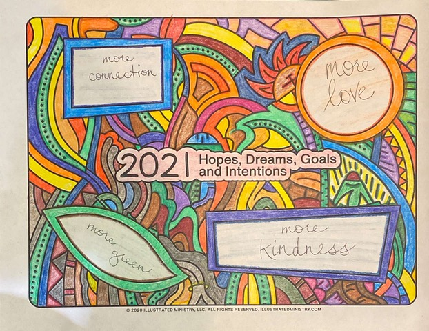 A brightly-colored 2021 Hopes, Dreams, Goals, and Intentions coloring sheet.